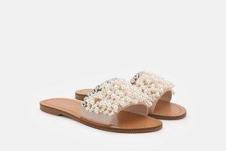 4446-2 Almond Embellished Pearl Sandals