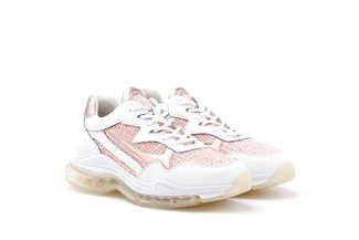 679-1 Pink Tweed Sneakers with Iridescent Trimmings