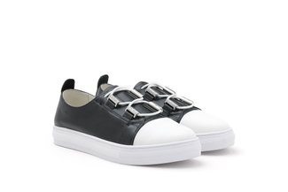 809-1B Black Dual Colour Iridescent Leather Sneakers
