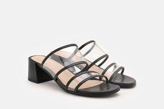 A653-210 Black Clear Strap Block Heel Sandals