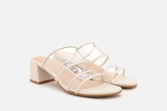 A653-210 White Clear Strap Block Heel Sandals