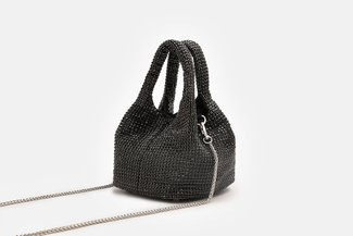 11629 Black Mini Diamante Embellished Purse Bag