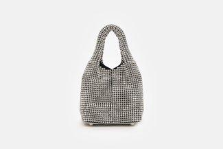 11629 Silver Mini Diamante Embellished Purse Bag