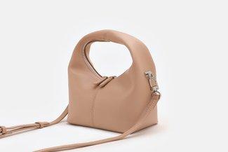 11672 Nude Minimalist Leather Hobo Bag