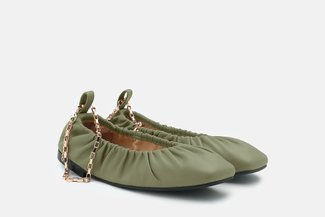 2218-1 Green Ankle Chain Elastic Square Toe Flats