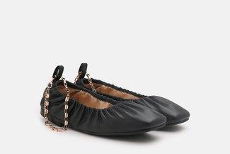 2218-1 Black Ankle Chain Elastic Square Toe Flats