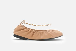 2218-1 Camel Ankle Chain Elastic Square Toe Flats