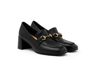 535-18 Black Buckle Heeled Leather Loafers