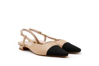 6519-3 Almond Dual Textured Slingback Heels