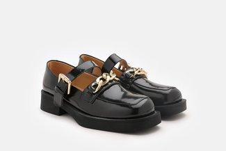 75-5 Black Chunky Mary Jane Chain Platform Loafers
