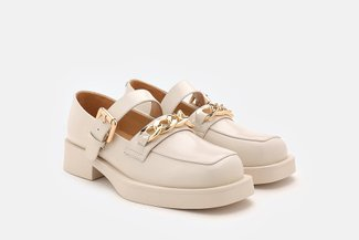 75-5 Beige Chunky Mary Jane Chain Platform Loafers