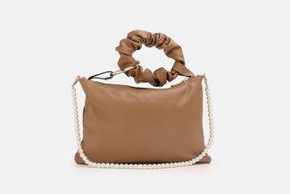 9506 Brown Pearly Strap Ornate HandBag