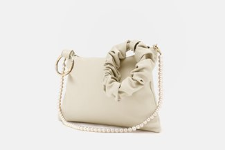 9506 Beige Pearly Strap Ornate HandBag