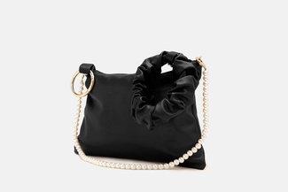 9506 Black Pearly Strap Ornate HandBag
