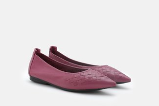 9550-26 Maroon Weave Leather Pointy Toe Flats