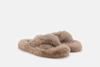 FS100 Khaki Fluffy Crossover Slip On Slippers