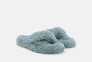 FS100 Blue Fluffy Crossover Slip On Slippers