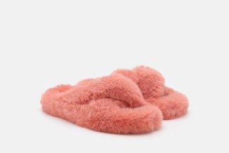FS100 Orange Fluffy Crossover Slip On Slippers