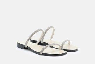 LT623-3 Beige Diamante Strap Slide Sandals