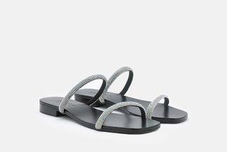 LT623-3 Black Diamante Strap Slide Sandals