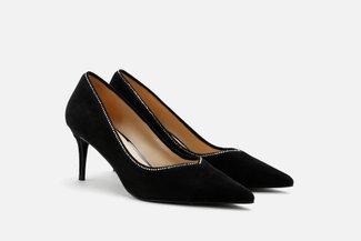 LT185-8  Black Diamante Lined Minimalist Suede Heels