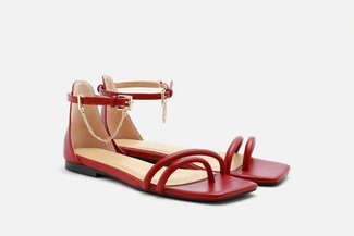 2168-1 Wine Chain Anklet Strappy Sandals
