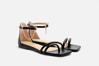 2168-1 Black Chain Anklet Strappy Sandals