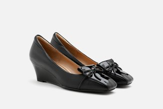 683-3 Black Knotted Bow Patent Leather Heeled Wedges