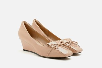 683-3 Almond Knotted Bow Patent Leather Heeled Wedges