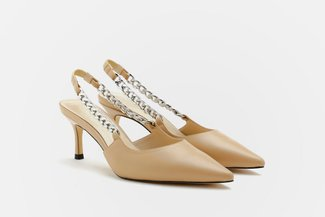 7060-13 Almond Metallic Chain Strap Pointed Low Heels