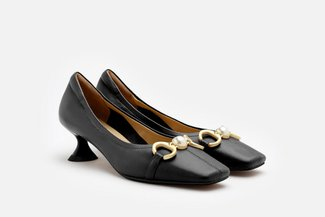 608-05 Black Ornate Buckle Square Toe Pump Heels