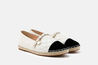 2002-1A Beige Colour Blocked Chained Espadrilles