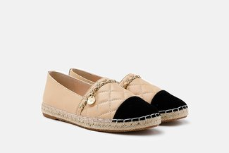2002-1A Almond Colour Blocked Chained Espadrilles