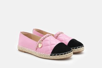 2002-1A Light Pink Colour Blocked Chained Espadrilles