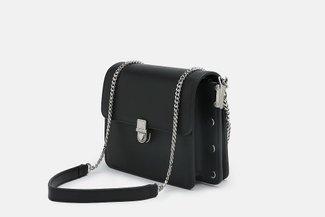 88180-1 Black Minimalist Chain Strap Crossbody Mini Bag