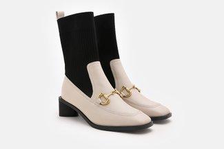 988-3 Beige Ankle Flyknit Horsebit Chelsea Boots