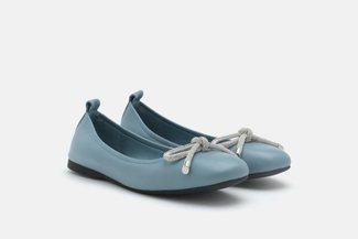 A1618-1 Blue Diamante Bow Round Toe Flats