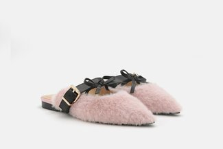 2039-5 Pink Dainty Bow Fur Pointed Toe Mules