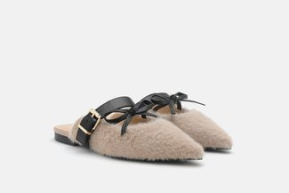 2039-5 Khaki Dainty Bow Fur Pointed Toe Mules