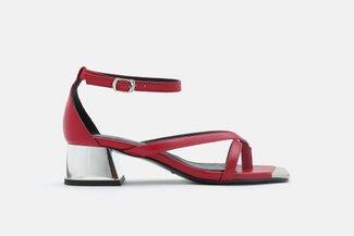 LT618-8 Oxblood Slinky Ankle Strap Block Heels