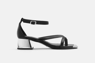 LT618-8 Black Slinky Ankle Strap Block Heels