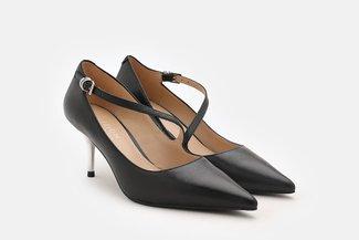 LT183-52 Black Asymmetrical Strap Leather Pointed Heels