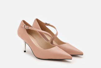 LT183-52 Nude Asymmetrical Strap Leather Pointed Heels