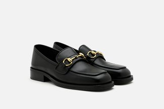 1338-8 Black Vintage Metal Buckle Leather Loafers