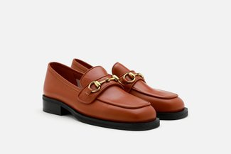 1338-8 Brown Vintage Metal Buckle Leather Loafers