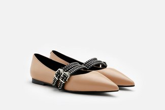 2019-3A Almond Buckled Strappy Pointed Leather Flats