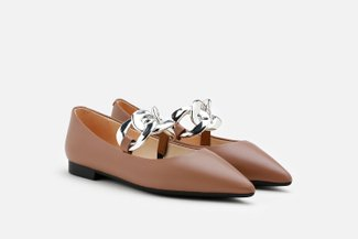 2019-7 Brown Chunky Interlooped Chain Pointed Toe Flats