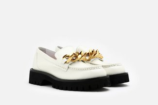8608-225 Beige Oversized Chain Chunky Leather Loafers